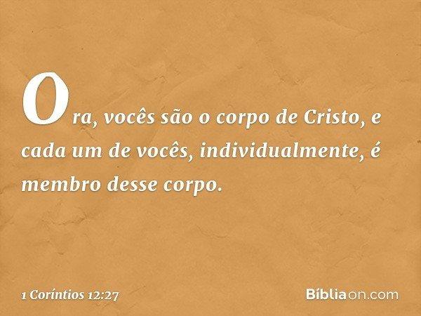 Ora, vocês são o corpo de Cristo, e cada um de vocês, individualmente, é membro desse corpo. -- 1 Coríntios 12:27