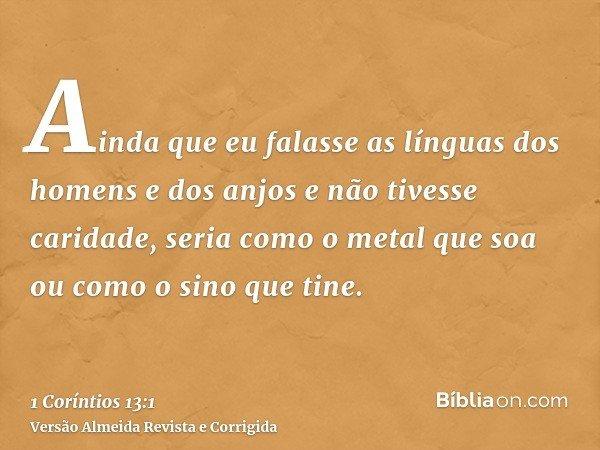 Ainda que eu falasse as línguas dos homens e dos anjos e não tivesse caridade, seria como o metal que soa ou como o sino que tine.