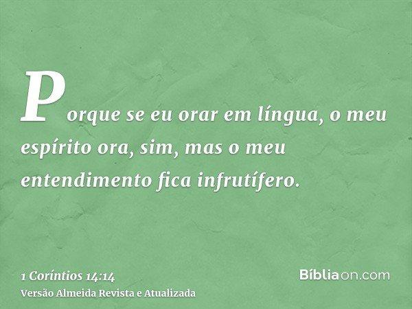 Porque se eu orar em língua, o meu espírito ora, sim, mas o meu entendimento fica infrutífero.