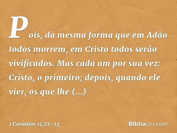 Pois, da mesma forma que em Adão todos morrem, em Cristo todos serão vivificados. Mas cada um por sua vez: Cristo, o primeiro; depois, quando ele vier, os que l