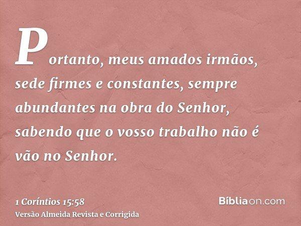 Portanto, meus amados irmãos, sede firmes e constantes, sempre abundantes na obra do Senhor, sabendo que o vosso trabalho não é vão no Senhor.