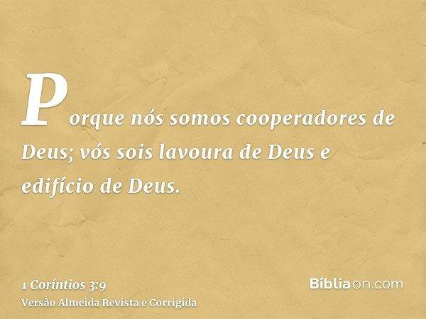 Porque nós somos cooperadores de Deus; vós sois lavoura de Deus e edifício de Deus.