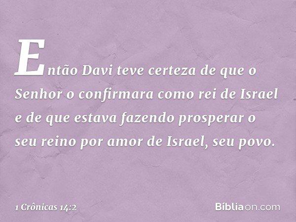 Então Davi teve certeza de que o Senhor o confirmara como rei de Israel e de que estava fazendo prosperar o seu reino por amor de Israel, seu povo. -- 1 Crônica