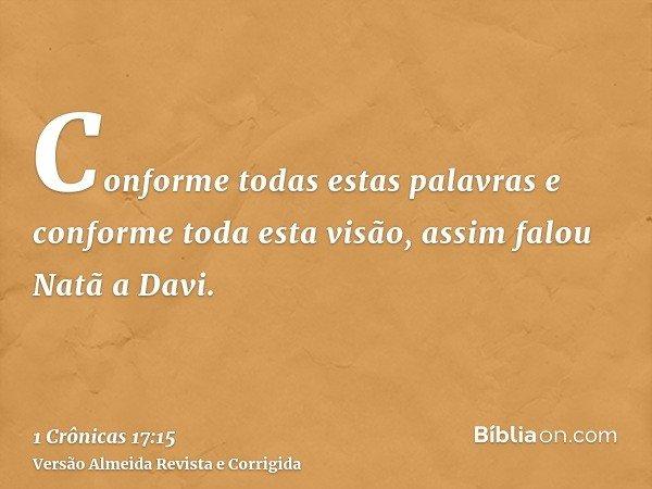 Conforme todas estas palavras e conforme toda esta visão, assim falou Natã a Davi.