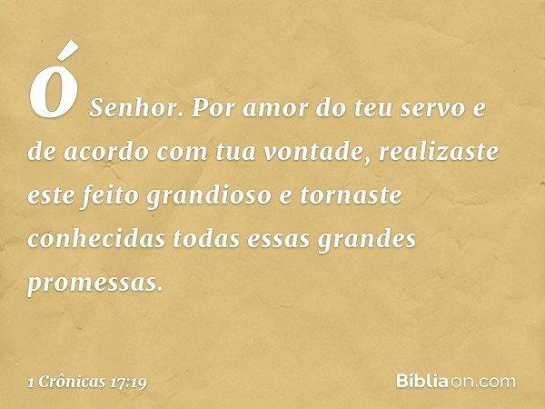 ó Senhor. Por amor do teu servo e de acordo com tua vontade, realizaste este feito grandioso e tornaste conhecidas todas essas grandes promessas. -- 1 Crônicas