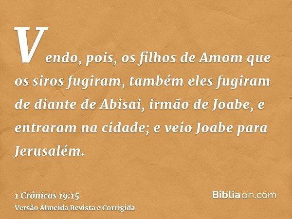 Vendo, pois, os filhos de Amom que os siros fugiram, também eles fugiram de diante de Abisai, irmão de Joabe, e entraram na cidade; e veio Joabe para Jerusalém.