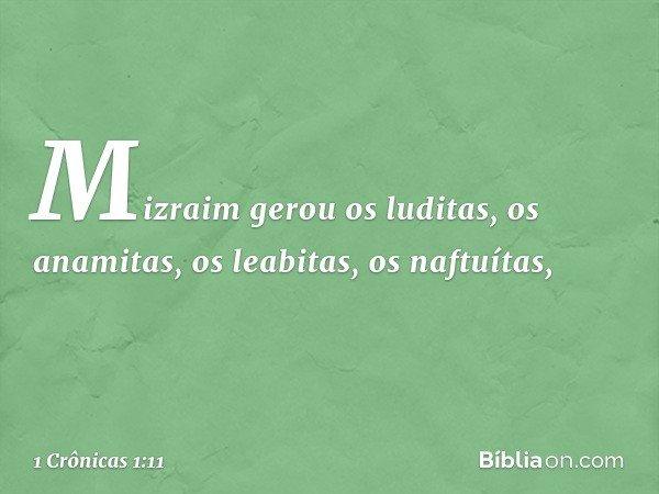 Mizraim gerou os luditas, os anamitas, os leabitas, os naftuítas, -- 1 Crônicas 1:11