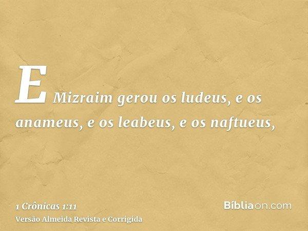 E Mizraim gerou os ludeus, e os anameus, e os leabeus, e os naftueus,