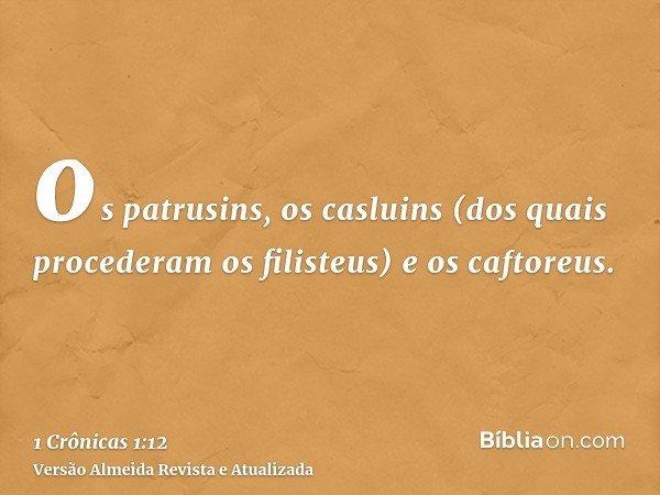 os patrusins, os casluins (dos quais procederam os filisteus) e os caftoreus.