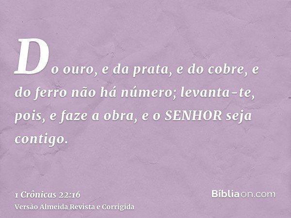Do ouro, e da prata, e do cobre, e do ferro não há número; levanta-te, pois, e faze a obra, e o SENHOR seja contigo.