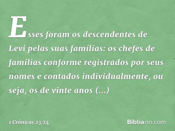Esses foram os descendentes de Levi pelas suas famílias: os chefes de famílias conforme registrados por seus nomes e contados individualmente, ou seja, os de vi