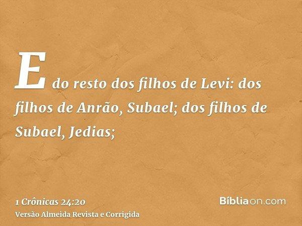 E do resto dos filhos de Levi: dos filhos de Anrão, Subael; dos filhos de Subael, Jedias;