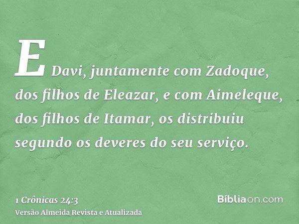 E Davi, juntamente com Zadoque, dos filhos de Eleazar, e com Aimeleque, dos filhos de Itamar, os distribuiu segundo os deveres do seu serviço.