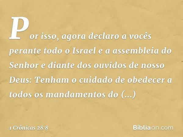 """""""Por isso, agora declaro a vocês perante todo o Israel e a assembleia do Senhor e diante dos ouvidos de nosso Deus: Tenham o cuidado de obedecer a todos os mand"""