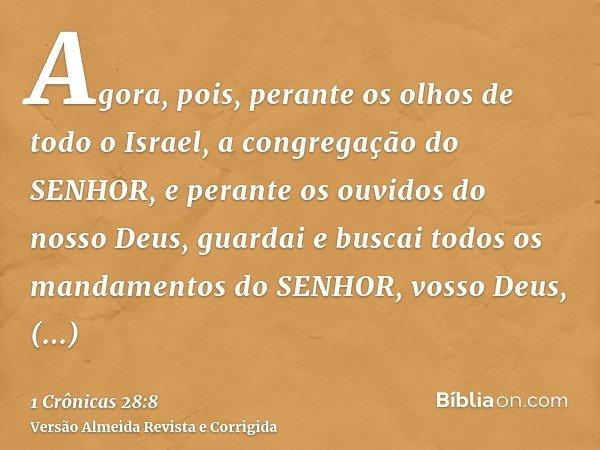 Agora, pois, perante os olhos de todo o Israel, a congregação do SENHOR, e perante os ouvidos do nosso Deus, guardai e buscai todos os mandamentos do SENHOR, vo