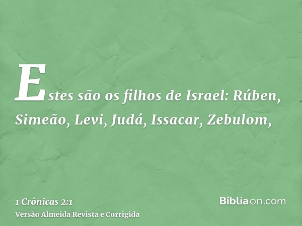 Estes são os filhos de Israel: Rúben, Simeão, Levi, Judá, Issacar, Zebulom,