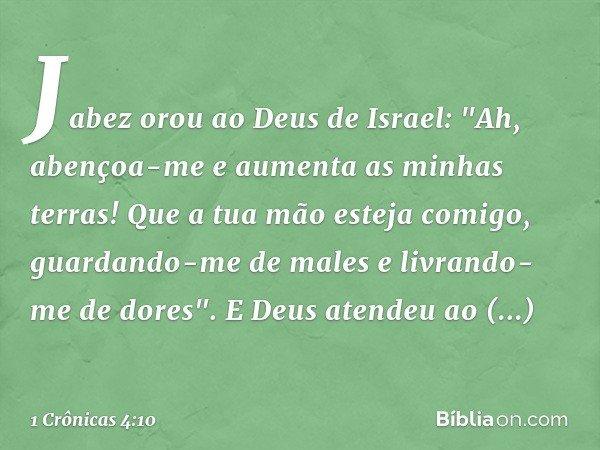 Jabez orou ao Deus de Israel: