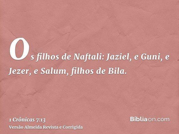 Os filhos de Naftali: Jaziel, e Guni, e Jezer, e Salum, filhos de Bila.