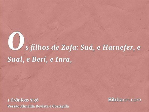 Os filhos de Zofa: Suá, e Harnefer, e Sual, e Beri, e Inra,