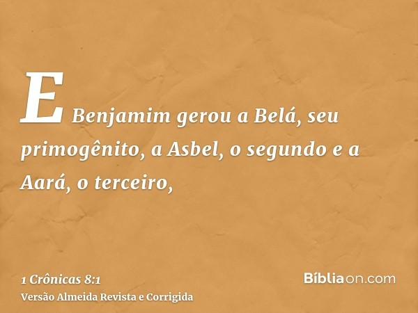 E Benjamim gerou a Belá, seu primogênito, a Asbel, o segundo e a Aará, o terceiro,