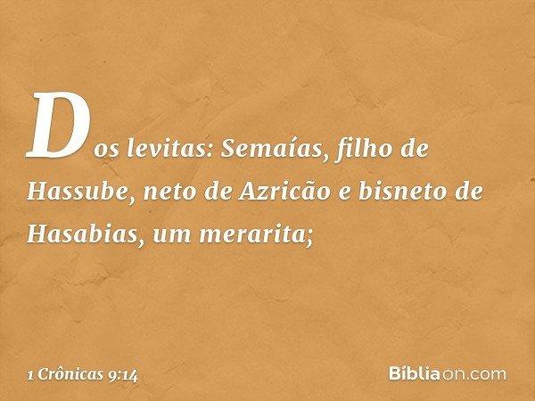 Dos levitas: Semaías, filho de Hassube, neto de Azricão e bisneto de Hasabias, um merarita; -- 1 Crônicas 9:14