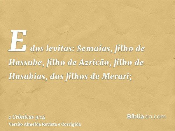 E dos levitas: Semaías, filho de Hassube, filho de Azricão, filho de Hasabias, dos filhos de Merari;