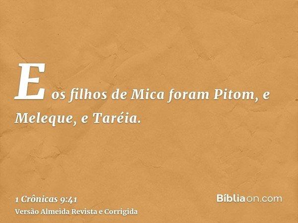 E os filhos de Mica foram Pitom, e Meleque, e Taréia.