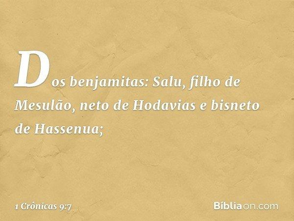Dos benjamitas: Salu, filho de Mesulão, neto de Hodavias e bisneto de Hassenua; -- 1 Crônicas 9:7