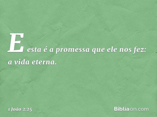 E esta é a promessa que ele nos fez: a vida eterna. -- 1 João 2:25