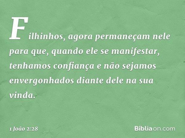 Filhinhos, agora permaneçam nele para que, quando ele se manifestar, tenhamos confiança e não sejamos envergonhados diante dele na sua vinda. -- 1 João 2:28