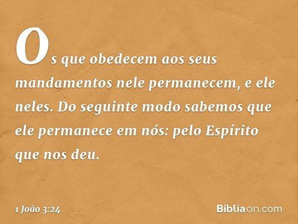 Os que obedecem aos seus mandamentos nele permanecem, e ele neles. Do seguinte modo sabemos que ele permanece em nós: pelo Espírito que nos deu. -- 1 João 3:24
