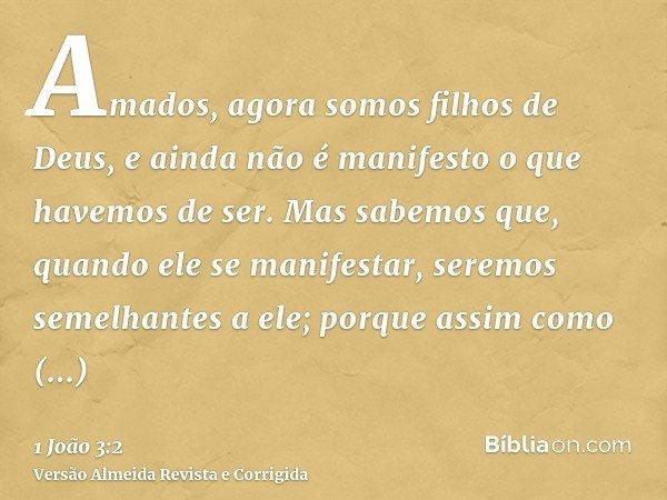 Amados, agora somos filhos de Deus, e ainda não é manifesto o que havemos de ser. Mas sabemos que, quando ele se manifestar, seremos semelhantes a ele; porque a