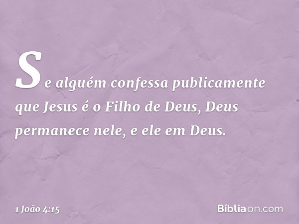 Se alguém confessa publicamente que Jesus é o Filho de Deus, Deus permanece nele, e ele em Deus. -- 1 João 4:15