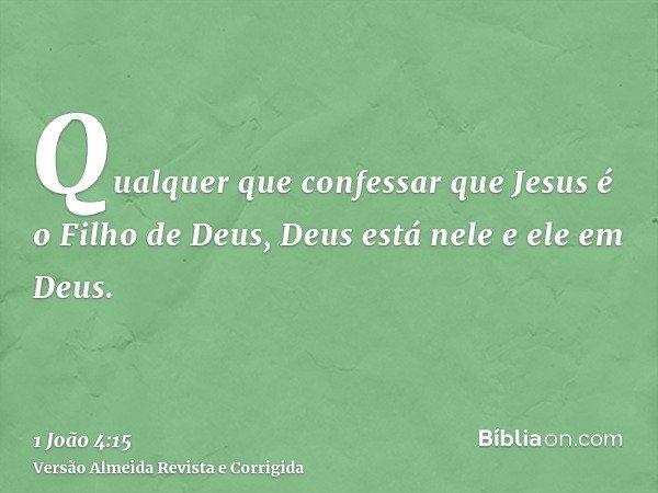 Qualquer que confessar que Jesus é o Filho de Deus, Deus está nele e ele em Deus.