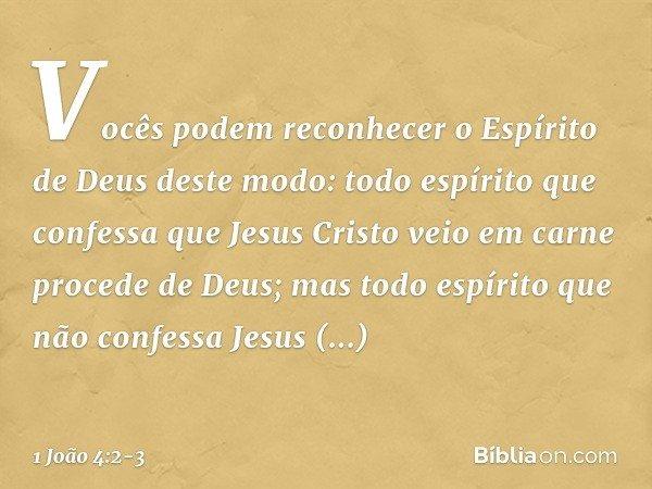 Vocês podem reconhecer o Espírito de Deus deste modo: todo espírito que confessa que Jesus Cristo veio em carne procede de Deus; mas todo espírito que não confe