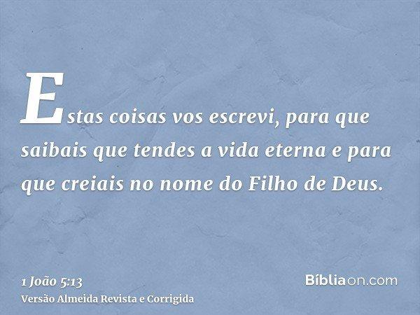 Estas coisas vos escrevi, para que saibais que tendes a vida eterna e para que creiais no nome do Filho de Deus.