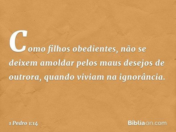 Como filhos obedientes, não se deixem amoldar pelos maus desejos de outrora, quando viviam na ignorância. -- 1 Pedro 1:14