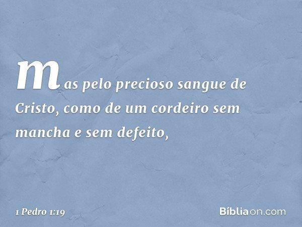 mas pelo precioso sangue de Cristo, como de um cordeiro sem mancha e sem defeito, -- 1 Pedro 1:19