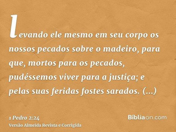 levando ele mesmo em seu corpo os nossos pecados sobre o madeiro, para que, mortos para os pecados, pudéssemos viver para a justiça; e pelas suas feridas fostes