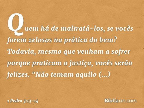 """Quem há de maltratá-los, se vocês forem zelosos na prática do bem? Todavia, mesmo que venham a sofrer porque praticam a justiça, vocês serão felizes. """"Não temam"""
