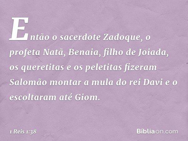Então o sacerdote Zadoque, o profeta Natã, Benaia, filho de Joiada, os queretitas e os peletitas fizeram Salomão montar a mula do rei Davi e o escoltaram até Gi