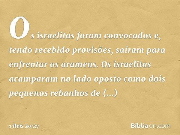 Os israelitas foram convocados e, tendo recebido provisões, saíram para enfrentar os arameus. Os israelitas acamparam no lado oposto como dois pequenos rebanhos