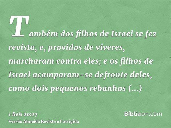 Também dos filhos de Israel se fez revista, e, providos de víveres, marcharam contra eles; e os filhos de Israel acamparam-se defronte deles, como dois pequenos