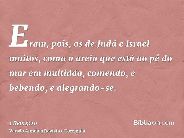 Eram, pois, os de Judá e Israel muitos, como a areia que está ao pé do mar em multidão, comendo, e bebendo, e alegrando-se.