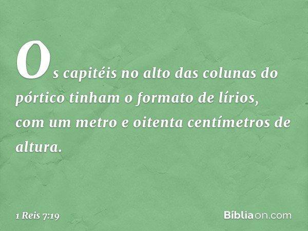 Os capitéis no alto das colunas do pórtico tinham o formato de lírios, com um metro e oitenta centímetros de altura. -- 1 Reis 7:19