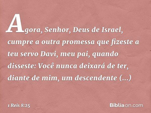 """""""Agora, Senhor, Deus de Israel, cumpre a outra promessa que fizeste a teu servo Davi, meu pai, quando disseste: 'Você nunca deixará de ter, diante de mim, um de"""