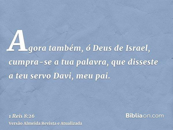 Agora também, ó Deus de Israel, cumpra-se a tua palavra, que disseste a teu servo Davi, meu pai.