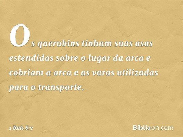 Os querubins tinham suas asas estendidas sobre o lugar da arca e cobriam a arca e as varas utilizadas para o transporte. -- 1 Reis 8:7