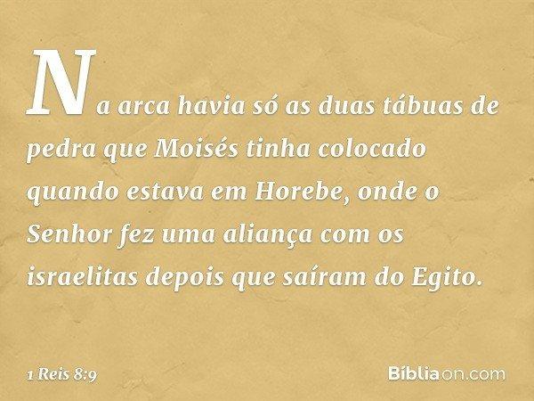 Na arca havia só as duas tábuas de pedra que Moisés tinha colocado quando estava em Horebe, onde o Senhor fez uma aliança com os israelitas depois que saíram do
