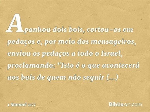 Apanhou dois bois, cortou-os em pedaços e, por meio dos mensageiros, enviou os pedaços a todo o Israel, proclamando:
